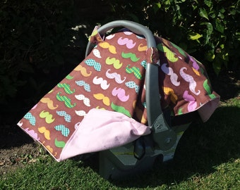 Car Seat Canopy Mustache for Baby Girl