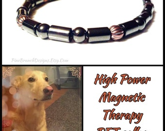 PET Magnetic Collar SUPER Strong Clasp LARGE therapy Hematite and Copper High Strength Magnetic Custom Sized pet jewelry Wellness Health