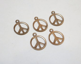 Raw Brass Peace Charms - 10mm - 5 pieces