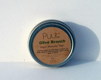 Olive Branch Vegan Mustache Wax - Men's Pomade Beard Balm Grooming Wax Olive Oil Mediterranean Scent Mens Shaving Gift 2oz Tin Goatee Balm