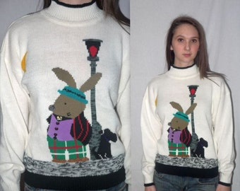 Bunny bop ... Vintage 80s novelty sweater / 1980s hipster knit pullover / kitsch knit / ugly tacky / rabbit scottie dog