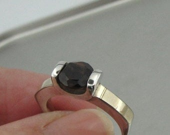 925 Sterling Silver and 9K Yellow Gold Smokey Quartz Ring, Ring size 7, Solitaire Ring, One stone Ring, Fine Ring, Brown Stone Ring