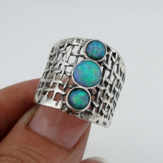 Opal Ring, Stunning Handcrafted 925 Sterling Silver Opal Ring size 7, Blue Opal Ring, Israel Jewelry  (h 142b)