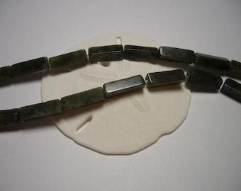 Natural Jade beads 4 x 13mm,  nephrite jade beads, elongated beads, rectangular jade beads, natural nephrite jade, cube beads, dark green