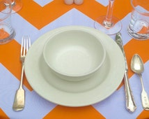 Orange Chevron Tablecloth Linen Choice of Size