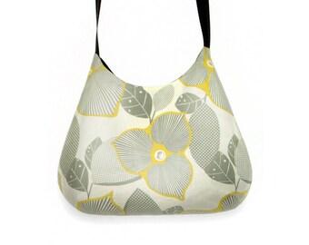 Grey and mustard yellow retro shoulder bag