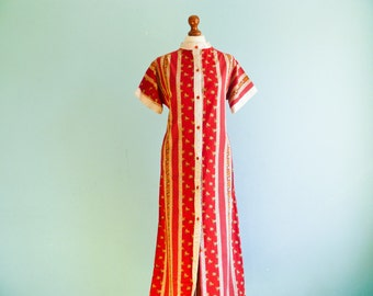 Vintage 70s red white dress ethnic bohemian hippie / striped / floral / short sleeve / buttoned up down / maxi long / medium