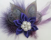 Purple Wedding Hair Clip, Silver Peacock Hair Fascinator, Purple & Gray Feather Wedding Hair Piece, Bridal Accessory, Birdcage Veil