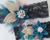 Black Lace WEDDING Garters, Ivory Peacock Bridal Garters, Deep Teal Prom Garters, Kanzashi Flower, Purple & Teal Feather Garters