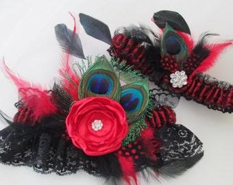 RED Feather Bridal Garter Set, Black Lace Garters, Peacock Garters, Red Prom Garter, Burlesque / Bettie Page / Harlequin Weddings