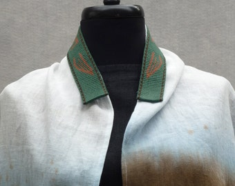 Tablet Woven Atarah, Green and Copper Brown Tallit neck band