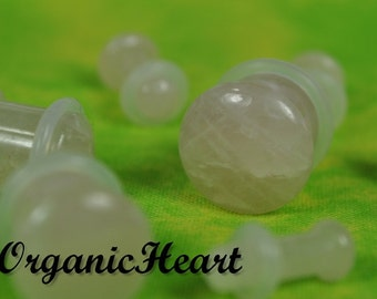 "Rose Quartz Single Flare Stone Plugs 8g-1/2"" (Sold as Pair) Handmade Body Jewelry Organic Plugs (8g, 6g,4g, 2g, 0g, 00g, 1/2"")"