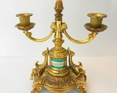 Vintage gilt Rococo candelabra ceramic porcelain rococo gilt bronze and turquoise caldelabra transferware rococo ornate candelabra pizazz