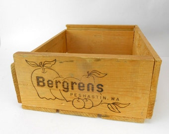 Vintage wood crate wood box Peshastin Fruit Company fruit crate packing box orchard farm primitive storage Bergrens wooden box