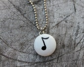 Hand Painted Glass Music Note Charm Necklace