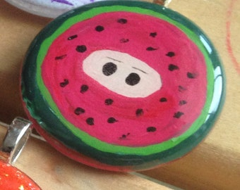 Hand Painted Watermelon Fruit Ninja Glass Pendant