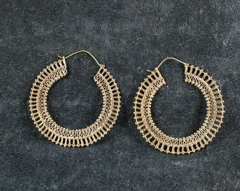 Large Brass Hoops- Gypsy Hoops- Tribal Jewelry- Boho Jewelry