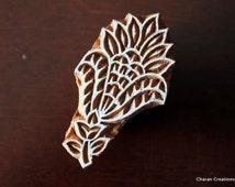 Wood Block Stamp, Tjaps, Indian Wood Stamp, Pottery Stamp, Textile Stamp, Hand Carved - Floral Motif