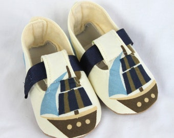 SHIPS AHOY-Blue, Cream and Navy Baby Boy Booties
