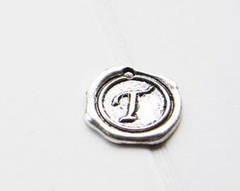 12pcs / Wax Seal Letter / Oxidized Silver Tone / Base Metal / Charm / Alphabet T (YA15706//E327)