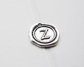 12pcs / Wax Seal Letter / Oxidized Silver Tone / Base Metal / Charm / Alphabet Z (YA15706//E339)