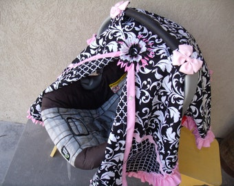 Carseat Canopy Scroll Lattice Pink Ruffle Adorable