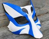Kabuki  Kitsune Fox Leather Mask Made to Order Great for Halloween Burning Man Masquerade Costume LARP Cosplay Mardi Gras Dragon Con