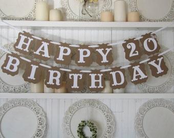 Custom age/year HAPPY BIRTHDAY Banner, Happy Birthday Sign, Birthday Party Decoration, Party Decor, Vintage Birthday, 40th, 50th Birthday
