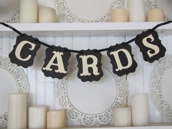 CARDS Banner, Wedding Sign, Wedding Decoration, Party Decoration, Cards Sign