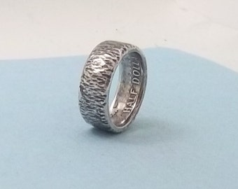 Hammered...Silver coin ring Made from a 1964 Kennedy Half dollar 90% fine silver jewelry size 10