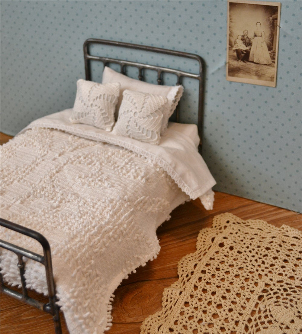 Doll Bedding Chenille Bedspread And Sheet Set For Playscale