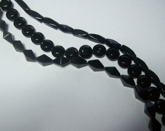 Black beads ... Glass .... your Choice ... Full Strand