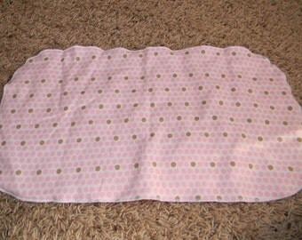 Pink and Brown Dotted Burp Cloth with Minky Back