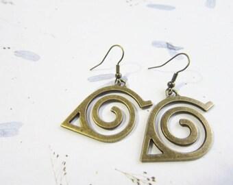 SALE Naruto Konoha Symbol Brass Tone Earrings