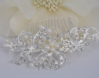 Crystal Feather-Vintage Style Rhinestone Bridal Comb