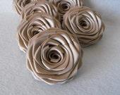 6 handmade roses ribbon flowers in champagne (tan)
