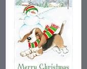 Basset Hound Dog Christmas Cards Box of 16 Cards & 16 Envelopes