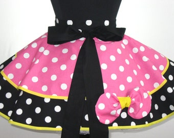 Flirty Pink and White Polka Dot Minnie Mouse Inspired Half Apron