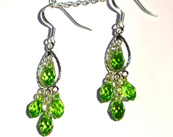 Delicate Peridot Green Swarovski Crystal Earrings ( E 867)