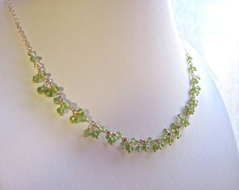 Peridot Necklace Green Gemstone Necklace Wire Wrapped Peridot Cluster Beaded Necklace August Birthstone