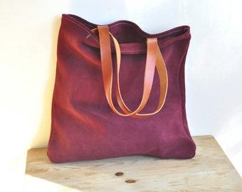 OFFER Garnet leather tote bag market bag simple tote bag everyday bag with brown leather straps