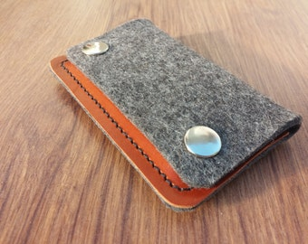 Card holder Credit card holder wallet felt wallet purse card wallet - Grey felt and brown leather