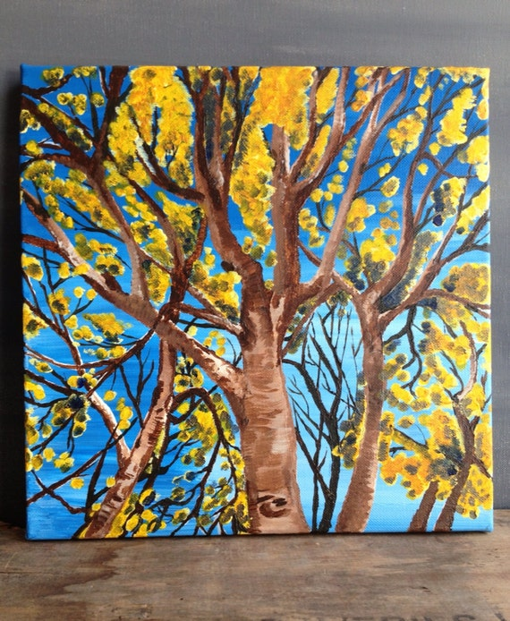 CLEARANCE Yellow Leaves Fall Oak Tree Looking Up, 9x12 by MyImaginationIsYours