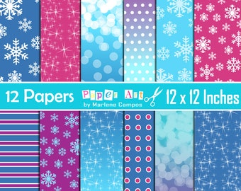 Frozen Digital Papers, Frozen Backgrounds Inspired, Frozen Birthday, Frozen Party, Digital papers, Birthday party - INSTANT DOWNLOAD