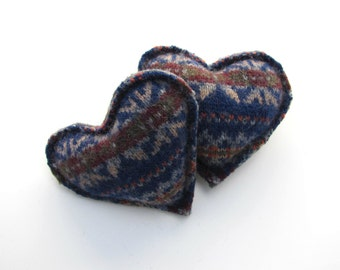 Hand Warmers Grey Oxblood Burgundy and Cobalt Blue Fair Isle Recycled Wool Pocket Handwarmer