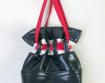 Mod Vinyl Drawstring Satchel Handbag 1960s Red White Blue Vegan Vintage Bag