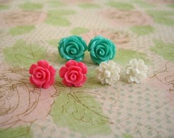 Green Dark Pink White Resin Flower Earrings, Resin Earrings, Resin Cabochons, Cabochons Earrings, Flower Earrings, Rose Earrings