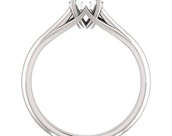 5mm Round 0.5ct Forever Brilliant Moissanite 14K White Gold Diamond Engagement Ring ST233158-887
