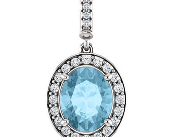 "Natural  10x8mm Oval  Aquamarine Solid 14K White Gold Diamond pendant with 18"" Cable chain- ST97183"