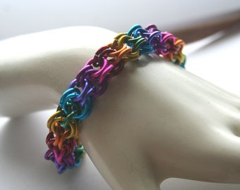 Rainbow Inverted Round Bracelet 7.5 inches